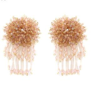 Jewelry - Crystal Flower Tassel Earrings -  3 colors